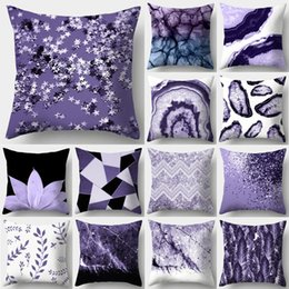 yellow black white cushion covers Coupons - Purple Geometric Decorative Cushion Cover Pillow Pillowcase Polyester 45*45 Throw Pillows Home Decor Pillowcover 40846