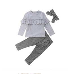 07edc5024 Girls Clothes Ruffle Toddler Kids Baby Designer Spring Long Sleeve Tops  Leggings Pant Handband Set Girls Boutique Outfits Gifts 3pcs lot