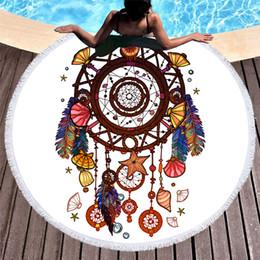 Toalha dourada on-line-O envio gratuito de novidade presente golden purple dreamcatcher lua olho buddha impressão grande rodada towel praia cobertor xale cover-up tapeçaria 150 cm