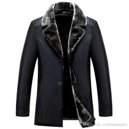 Pelz-jacke mens online-Winter Herren-Leder-Jacken-Revers-Ausschnitt Einreiher Männer Winterjacken Pelz One Herren Mantel