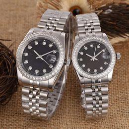 Argentina De lujo para hombre mujer amante relojes famoso diseñador de diamantes automático mecánico par Relojes de pulsera de acero inoxidable 316 helado fuera reloj Suministro