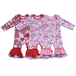 2019 vestidos marrones monos Valentine's Newborn Baby Romper Corazón Estampado de manga larga Mamelucos de rizo de algodón Niñas Niños pequeños Boutique niños Ropa de escalada