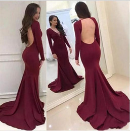 Sexy V Neck Mermaid 2019 Evening Dresses Long Sleeve Backless Simple Design  Special Occasion Dresses Custom Made Elegant Prom Dresses c503f23cd67b