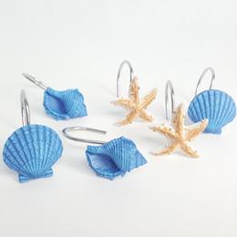 Синее кольцо смолы онлайн-синий занавес кольца Смола Ванна занавес Hook Морская звезда Раковины Моделирование купания Robe Крючки Подвесной HooksT2I5399
