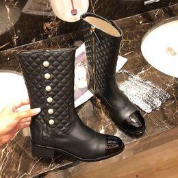 botas de mujer desnuda Rebajas 2019 nuevas botas desnudas de diseñador para mujer, botas de cuero de lujo, botas clásicas de desfile de moda, botas de invierno para mujer, tamaño: 35-40