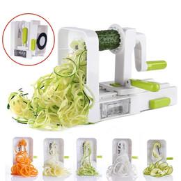 spirale veggie slicer Rabatt 5 Klinge Spiralizer Folding Veggie Pasta Spaghetti Kartoffel Gemüsespirale Cutter Zucchini Slicer Q190524
