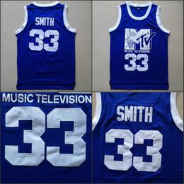 2019 palla di musica Mens Will Smith # 33 Maglia da basket Musica Televisione Prima Rock annuale N'Jock B-Ball Jam 1991 Blue Will Smith Camicie cucite palla di musica economici
