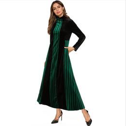Vestido de túnica de veludo on-line-Moda muçulmano impressão tecido de veludo Abaya Vestido Completo Robe Longo Vestidos Túnica Jubah Oriente Médio Ramadan Árabe Pano Islâmico Wq1175
