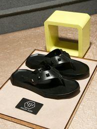 80c236ea8e46 2019 slippers men s summer diamond rivets black leather flip flops fashion  England trend wear sandals