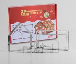 3D Christmas Gingerbread House Biscuit Cutter Set Stainless Steel Cookie Mould DIY Biscuit Mold Pastry Cake Stamp Baking Tools