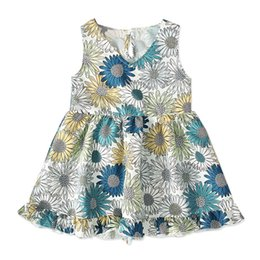 novas meninas moda vestidos Desconto NOVA criança verão menina KID moda menina saia sem mangas vestido de girassol marca crianças roupas 1-5 T
