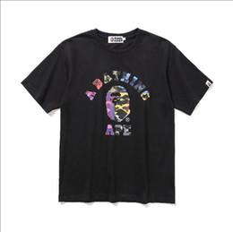 Рубашки для камуфляжа онлайн-Высокое Качество Новый Летний Подросток Цвет Camo Мультфильм Печати Черно-Белые Футболки Мужчины Женщины Повседневная Шею Хип-Хоп Футболки Размеры M-2XL