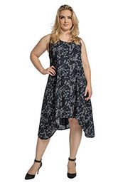 Standards & Practices Curvy Women s Plus Size Navy Chiffon Camo Zip Back  Tank Dress
