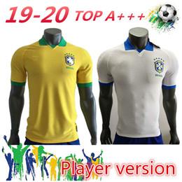 camisetas de fútbol de brasil personalizados Rebajas Jugador versión 2019 2020 Casemiro Brasil camisetas de fútbol de local personalizado G.Jesus P.Coutinho Marcelo Willian Firmino camisetas de fútbol
