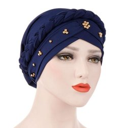 silk islamic Promo Codes - Milk Silk Muslim Hijab For Women Beads Braid Wrap Stretch Turban Hat Hair Care Islamic Jersey Head Scarf Chemo Cap Head Wrap GB950