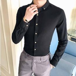 409ff0a5a86 Мужчины с длинным рукавом Осень Дизайнер Твердые Non Iron Slim Fit бизнес-рубашки  мужские повседневные платья Рубашка с длинным рукавом Twill Белый Синий Pi  ...