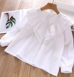 e7d99c8a66e9a0 Camicie per bambini doppio falbala bianco principessa tops bambini  monopetto a maniche lunghe camicetta 2019 autunno nuovi vestiti ragazza  F8475