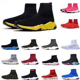 Frauen funkeln schuhstiefel online-Mens Designer-Schuh Speed Trainer Socken Schuhe für Frauen Vintage schwarzen Glitzer-Grau Triple S Stiefel High Top-Socken-Boot-Runner Flach Trainer