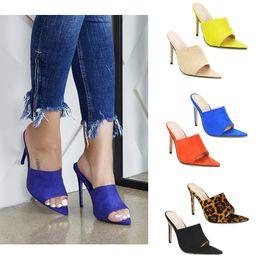 Tacones verdes para mujeres online-Simmi EGO Briana Bitch INS Hot puntiagudo estilete sandalias de verano Zapatos de mujer Candy Naranja Azul Verde Desnudo Negro