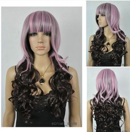 длинный светло-фиолетовый парик Скидка Wig Light Purple & Dark brown Long Wavy Women Cosplay Wig with Hairnet Free Shipping