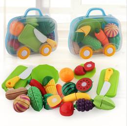 2019 casa de bonecas vintage atacado Legumes Corte Brinquedos Desenvolvimento Educação Brinquedos para o Bebê Cor Aleatória Plástico Frutas Legumes Brinquedos YH1858