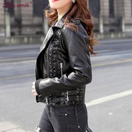 Yeni Lacing sapanlar Kadınlar Deri Ceket Punk Metal Jack Black Jacket Moto Coat jaquetas Couro Casaco leren damesjas chaqueta PU supplier black leather jacket women nereden siyah deri ceket kadın tedarikçiler