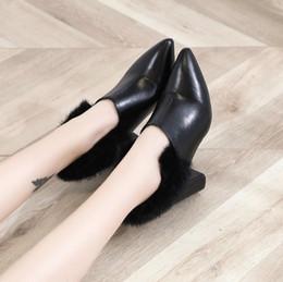 a4fbe020d 2018 nova moda de inverno apontou de espessura com saltos altos sapatos de  pele de boca profunda senhoras preto trabalho selvagem sapatos femininos  sapatos ...