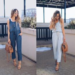 lange taillierte weste frauen Rabatt Casual Hosen Frauen Jeans Overall Lange Hosen Taille Sleeveless Sommer Kleidung Frauen Damenmode Dünne Weste Overall