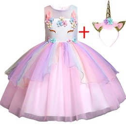 2019 новые дизайнерские платья для девочек Baby Girls Clothes  Halloween Princess Clothing Summer Kids Dresses For Girls Unicorn Dress Children Christmas Party Dress