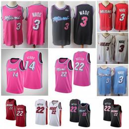 Camisetas de baloncesto xxxl online-NCAA Dwyane 3 Wade Hombres Jerseys de baloncesto Jimmy 22 Butler Goran 7 Dragic Tyler 14 Herro Hassan 21 Shorts bordados Whiteside 100% cosidos