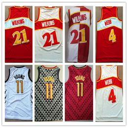 2019 Hombres Baratos # 4 Spud Webb jersey # 21 Dominique Wilkins Rojo Blanco 11 # Trae Joven Color Baloncesto Jersey Bordado Logos Tamaño S-XXL desde fabricantes