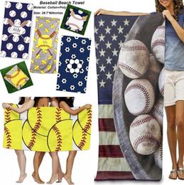 2019 toalha de fibra Nova toalha de praia de microfibra 150 * 75 cm beisebol impresso retângulo toalhas de banho toalha com fibra superfina yoga mat crianças cobertor 120 pcs 4802 desconto toalha de fibra
