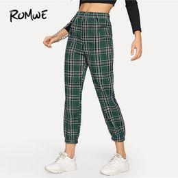 chaînes de pantalon Promotion Plaid mi taille élastique cheville-longueur pantalon fuselé femmes haute rue crop pantalons avec chaîne femme 2019 pantalon vêtements
