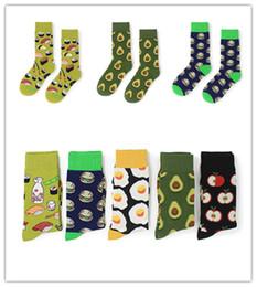 Valentine Unisex Food Pattern Socks Avocado Omelette Burger Sushi Apple Fruit Print Knee-High Socks Middle Long Cotton Stockings Winter