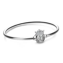 Krone entwirft schmuck silber online-Classic Style 925 Sterling Silber Armband Krone Zirkon Design Solid Silver Armband Geburtstagsgeschenk Mädchen Charme Schmuck beste Geschenk