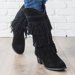botas étnicas de mujer Rebajas Nice Pop Bohemian Boho Heel Boot Ethnic Women Tassel Fringe Faux Suede Leather Botines Mujer Chica Zapatos planos Botines