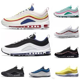 6884bc0a10d8 97 Mens Running Shoes Cushion Men Women Tripel White Black Metallic Gold  Anniversary Edition Sneakers 97S Sport Athletic Sports Trainers pink cream  cushions ...
