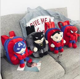 2019 bambole superman Bambini NUOVO 3D The Avengers peluche Zaini Giocattoli per i bambini di New Ironman Superman Spiderman bambola della peluche zainetto bambini Mochila borse bambole superman economici