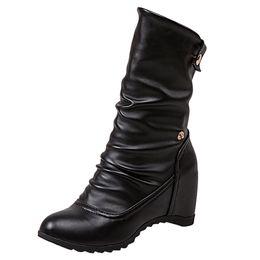9333d67c86a3 MUQGEW Women fashion Womens Round Toe Warm Shoes Casual Button Wedges Boots  Fashion High Heel Shoes woman 2019 boots