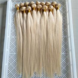 Canada Platinum Blonde Couleur Indien Vierge Cheveux Raides 100% Armure de Cheveux Humains 1 Pièce 10-30 Pouces Double Trame Cheveux Extensions supplier platinum blonde 24 inch hair extensions Offre