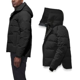baixo casaco inverno canada Desconto 2020 Canadá Mens Inverno de Down Parkas revestimento morno Hoodie preto de Down Designer Casacos Sobretudo Fur Langfordo Quente luxo Brasão Clothes Doudoune