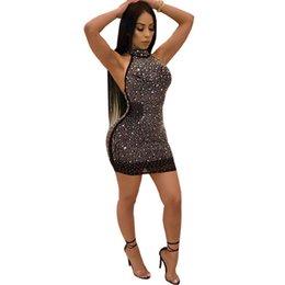 Sexy vestido de diamante corto online-Nuevo 2019 Mujeres sexy Bling Diamantes brillantes Lady Vendaje Bodycon Femme Party Cocktail Club Mini vestido corto