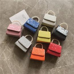 Bolsos de cuero de diseño coreano online-bolsos de los niños de Corea 2019 nuevas lentejuelas cuero de la pu línea de la perla del hombro bolso de la princesa Mensajero bolsos del cuerpo pequeño diseñador de lujo bolsos crossbody