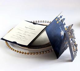 Tarjetas de visita de la invitación de la boda online-Estampado de oro barato Estereoscópico marino oscuro invitaciones de boda tarjetas personalizadas blanco rojo tarjeta de invitación de negocios envío gratis