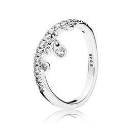 3618db5df Authentic 925 Sterling Silver Pan Ring Chandelier Droplets With Crystal  Rings For Women Wedding Party Gift Fine Jewelry