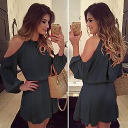 2019 beste lässige sommerkleider Elegantes meistverkauftes neues Chiffon Kleid Sommer Frauen Sexy Mode Langarm Casual Solid Color Abend Party Club Steetwear Trends Kleider günstig beste lässige sommerkleider