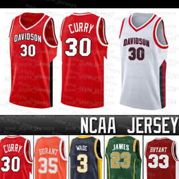 Stephen curry jerseys en Ligne-Stephen Davidson Wildcats Jersey Curry LeBron Westbrook Stephen Dwyane Wade Curry Kevin Durant l'université James Iverson de basket-ball Maillots
