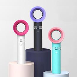 Usb mini fan bladeless on-line-Zero9 USB Ventilador Bladeless Recarregável Portátil Handheld Mini Cooler Sem Folha Handy Fan Com 3 Ventilador de Nível de Velocidade do Indicador LED carro