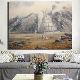 Stampa anelli di signore online-Lord Of The Rings Gandalf cavalca per Minas Tirith di Alan Lee Canvas Painting Picture Wall Poster e dipinti Stampa Decorazioni per la casa