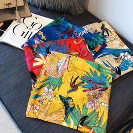 2019 großhandel seide pashminas Qualitäts-Marken-100% Silk Schal-Frauen-Dame Designer Vogel-Blumen-Silk Schals Sommer-dünner Schal-Schal Pashmina 90 * 180cm Großhandel rabatt großhandel seide pashminas